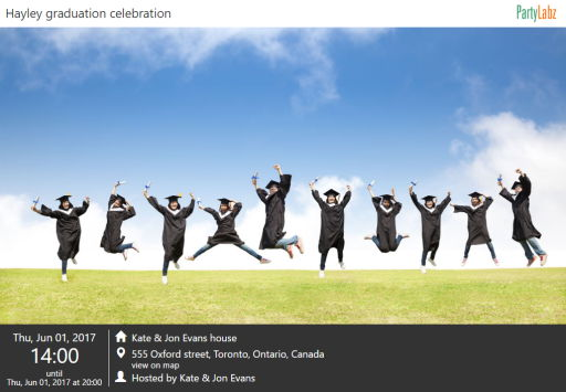 Graduation party web-page example