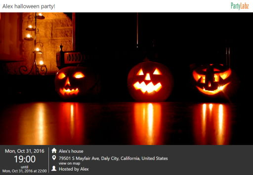 Halloween event web-page example