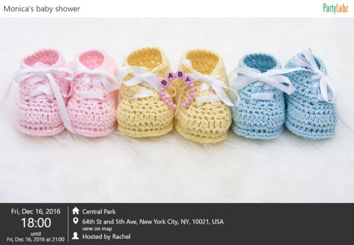 Baby shower event web-page example