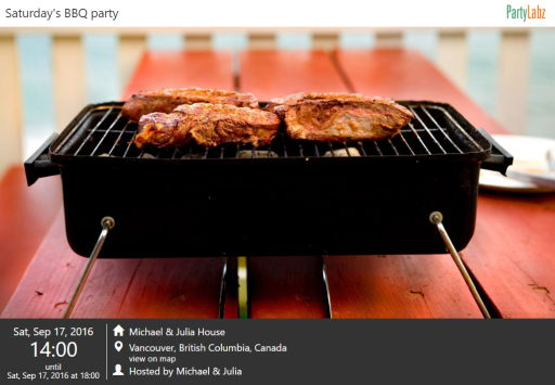 BBQ party web-page example