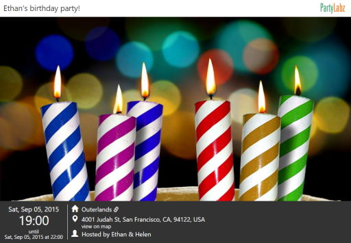 Birthday party web-page example